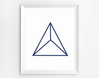 Scandinavian Wall Art, Modern Art, Geometric Poster, Pyramid Art, Triangle Wall Art, Geometric Print, 3D Print, Home Decor, Instant Download