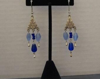Blue Glass Bead Chandelier Earrings