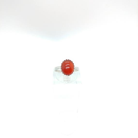 Carnelian Stone Ring | Sterling Silver Ring Sz 4.75 | Carnelian Agate Ring | Red Stone Ring | Gift for Her | Stone for Balance & Protection