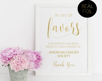 In Lieu Of Favors, Favors Sign, Foiled Wedding Prints, Gold Foil Wedding, Wedding Signs, Gold Wedding Sign, Wedding Prints, Reception Sign