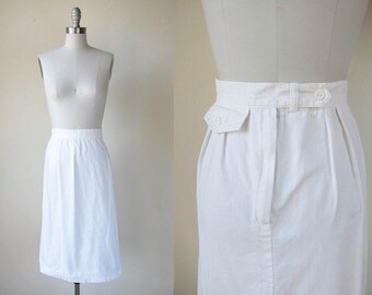 1970s vintage white cotton a line fitted waist midi skirt s