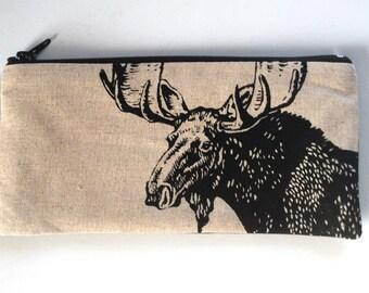 Vegan Pencil Case, Artist Pencil Pouch, Zipper Pouch, Moose Pencil Case