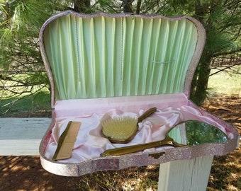 3 Piece Vanity Set In Pink Case Mirror, Brush, & Comb