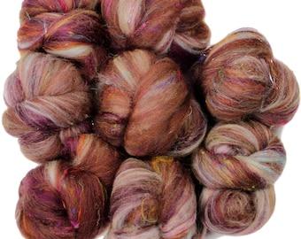 Black Forest Cake battlings -- mini batts (2 oz.) merino wool, bamboo, sari silk, sparkle.