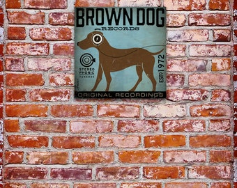 BROWN DOG records  chocolate labrador album artwork on gallery wrapped canvas by stephen fowler