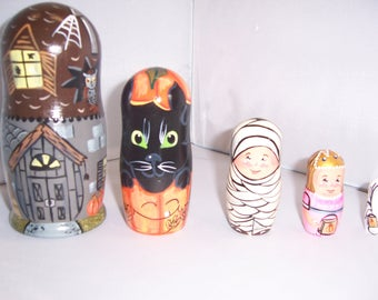 Trick or Treat Collection Hand painted stacking nesting doll set