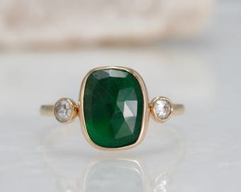 Rose emerald ring with rose cut diamonds, free form emerald ring 14k solid gold engagement ring, wedding ring,  Rachel Wilder jewelry