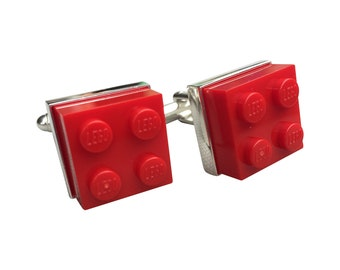 Cufflinks made using Red Lego Brick with Free Cuff Link Box and Free Shipping