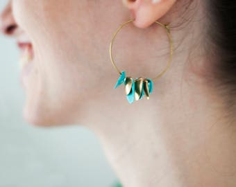 Silver 925 gold plated ring earrings with golden Sicilian shells and turquoise. Sicily collection. Valentine's Day gift for her