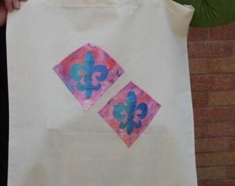 Handmade hand printed shopping bag