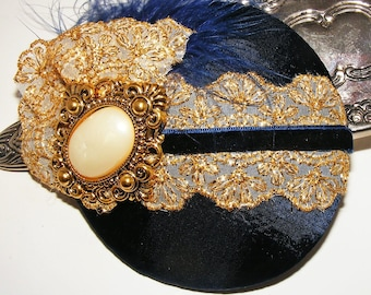 Regal Elegance Navy and Gold Cocktail Hat