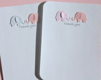 Twins Thank You Cards - Baby Shower Thank You Cards - Twins Baby Elephant Thank You Cards - Baby Gift Thank you cards   ETYC16