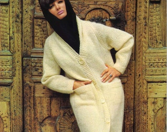 Lucerne Sweater Coat • 1960s Cardigan Pattern • Vintage Jumper Knitting Patterns • Retro Knit PDF