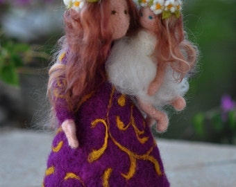 Needle felted Waldorf  Doll. Mother and child standing doll. Soft sculpture. Made to order.