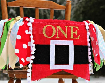Christmas birthday banner SANTA garland I am one First birthday decoration Bunting Handmade Christmas burlap Merry