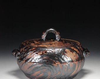 Mizusashi Mishima Black Covered Jar on Chocolate Stoneware Wabi Sabi