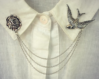 bird and the rose collar pins, collar chain, collar brooch, lapel pin, bird pin, bird brooch, rose brooch, rose pin