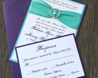 Turquoise and Purple Layered Invitation