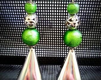 Fancy Long Green earrings, silver, green beads