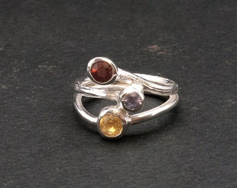 Gemstone Sterling Silver Ring, Twist Multi stone Ring, Spinel Ruby Amethyst Citrine Three Stone Ring, Elegant Cocktail Ring, Gift for Her