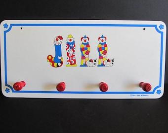 Vintage 1960's Childrens Coat Rack, Bellei, 1966-1969 Bellei, Clowns, Circus, Jill, Jill Coat Rack, Jill Decor, Childrens Room, Coat Racks