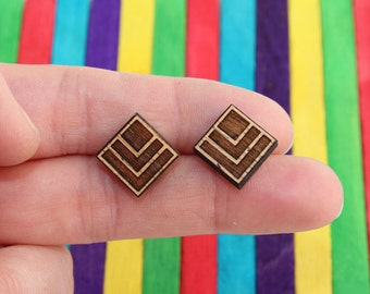 Wood laser cut earrings studs chevron and square tile, natural wood finish