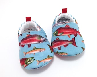 Fish Baby Shoes, Soft Sole Baby Shoes, Salmon Baby Booties, Toddler slippers, baby moccasins, fishing baby, baby shower gift