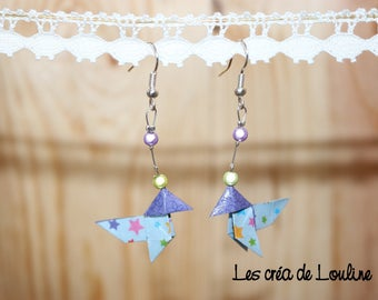 Eco friendly blue origami earrings starry