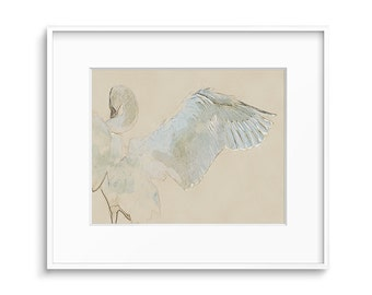 Bird Wall Art, Swan Drawing, Bird Decor, Printable Art, Wildlife Prints, Neutral White Wall Art - Swan Art Print