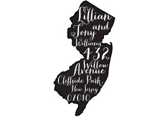 State Pride Personalized Custom Return Address Rubber Stamp or Self Inking New Jersey State Pride Garden Script Home Sweet Home