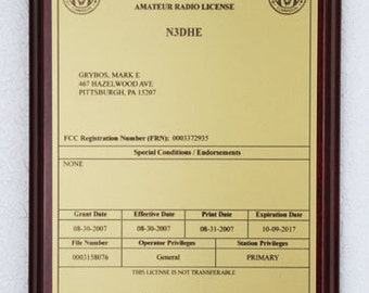 Amateur Radio License Plaque - Gold & Black on Mahogany