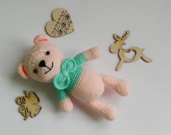 Amigurumi teddy bear Pink bear  Soft teddy bear Crochet bear Animal toys Gift for baby  Knitting bear baby shower gift