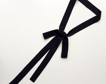 "Extra Long Skinny Neck Tie 70""x 1""in Black Silk. Bow Tie Choker. Long Thin Skinny Scarf. Black Silk Sash. Ascot. Bow Tie Scarf. Skinny Tie."