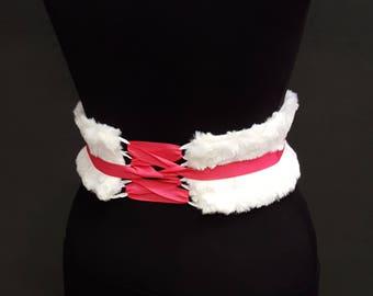 Fluffy Faux Fur Corset Belt / Soft White Waist Cincher / Festival Clothing / Obi Belt / Fluffy Clothes / Winter Forest Elf Costume / Obi