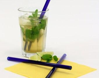 blue glass drinking straws, set of 6, 10 mm x 200 mm, straight