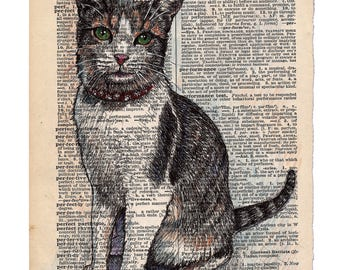 """Print: Cat """"Perfection"""" Dictionary Page, Print of Hand Drawn Illustration on Torn Dictionary Page"""