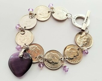 Dime Bracelet, Coin Jewelry, Silver Charm Bracelet