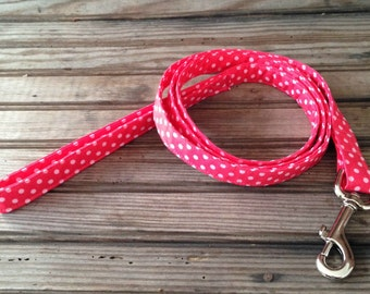 Dog Leash, Pink Polka Dot Dog Leash, Salmon Polka Dot Dog Leash, Fabric Dog Leash