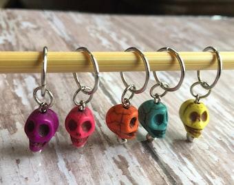Knitting stitch markers - sugar skulls set of 5