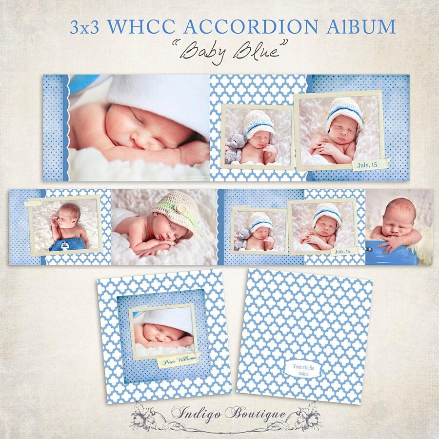 3x3 WHCC Accordion Album Template for Photographers Baby