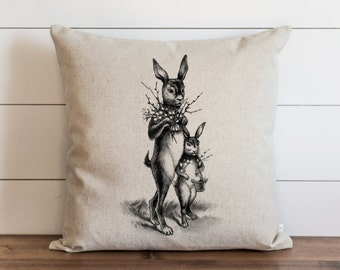 Easter Pillow // Pillows // Pillow Cover //  Throw Pillow // Spring Decor // Accent Pillow // Cushion Cover // VINTAGE BUNNIES // 20 x 20