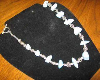 """19"""" Blue """"jade"""" and antiqued pewter Necklace"""