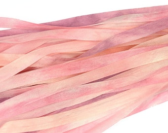 100% Pure Silk Ribbon 7mm Pink Embroidery Hand Dyed - Baby Pink 3 mtr