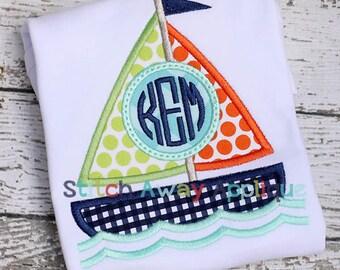 Sail Boat Monogram Circle Summer Beach Nautical Machine Applique Design