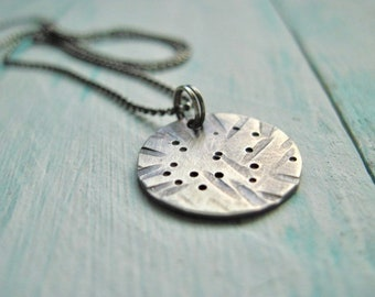 Textured Sterling Silver Round Pendant Necklace