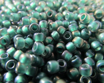Teal Lined Crystal Metallic 8.0 seed beads jewelry beads (10 grams)