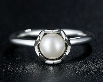 PA Lovely Silver Women's Freshwater Pearl Ring (P)7118