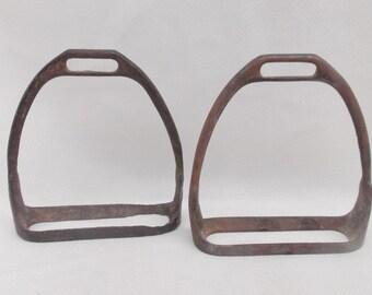 Vintage Worn Saddle Irons Cast iron Stirrups Rustic English saddle