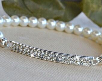 Crystal Bar and Pearl Stretch Bracelet/Bridal Bracelet/