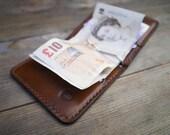 Money Clip Leather Wallet - Minimalist Cardholder - Leather Wallet - Spring Money Clip - Cash Wallet